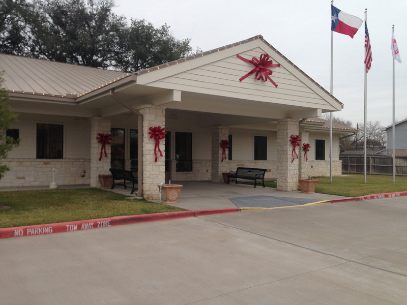 The christmas bows on Katy Library