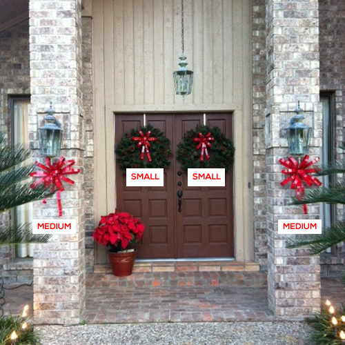Small and Medium Christmas Bows on a home